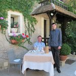 Lovely vine-covered terrace and attentive service at Le Bon Laboureur