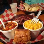 large ribs with Mac & cheese & Brunswick stew