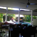 looking from kitchen to pool 3 bedroom villa