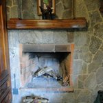 The working fireplace, ready to light.