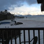 View fr rm 228 next morning. Snow covered beach