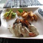 grilled prawns and steak