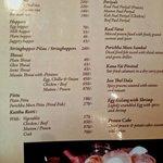 Lankan specialites side of the menu