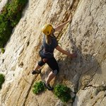 Pascale styles the small holds and steep angle of 'Breezy Rib'