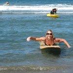MY MOM SURFING!