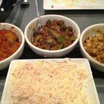 Bombay Allo, Bhindi Masala, Chana Masala, Basmati Rice