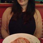Me enjoying my favourite spaghetti Pomodoro