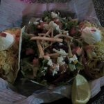 shrimp tacos and Lola's salad