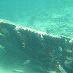 A sunken ship remains in Playa Pilar