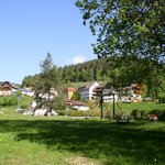 Car-free tentsite and view of our Black Forest village
