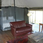 """Living and sleeping area in our """"tent"""""""