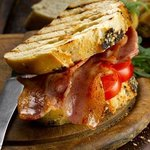 Delicious Gloucester Old Spot bacon sandwich with home baked bread