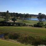 O campo de golfe e a International Drive vistos do nosso quarto