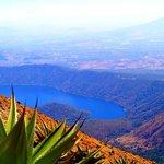 A view of Coatepeque Lake as  I climb the Santa Ana volcano