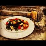 Sea food tagliolini , trattoria autentica, despite some peop