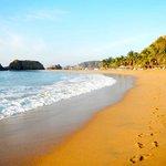 The nearby golden sandy beach