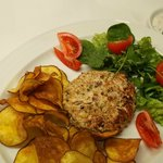 Chicken hamburger with sweet potato chips