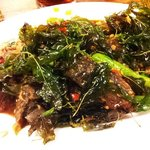 Spicy preserved egg with crispy sweet basil ^_^