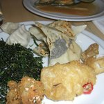 Seaweed and seaweed in crepe plus cod in batter with curry leaves and chilly