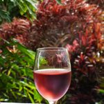 Glass of wine outside bar