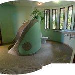 Upper round bathroom and sunken shower...