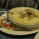 A huge bowl of fresh Oyster Stew at Mo's
