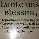 Irish blessing from the menu
