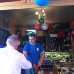 Tino the owner welcoming his customers :-)