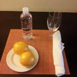 Complimentary Water and oranges upon arrival