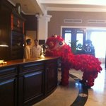 Sunday morning in the lobby, Chinese New Year!