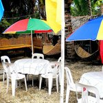 Round table with beach umbrellas