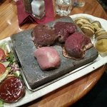 stone grill wild combo: pork, venison, kangaroo, ostrich