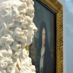 Portrait of Louis XIV's painter C. Lebrun, and Louis XIV in