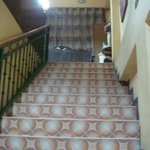 stairway to front desk