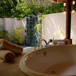 beach bungalow bathroom and plunge pool