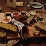 brilliant sharing platter. spicy battered cod, lava bread and dips, stuffed mu