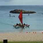 Catamaran Returning to lagoon from Cruise