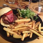 home made burger with fries and salad
