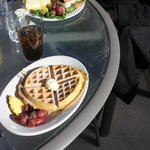 Pecan waffle and club sandwich