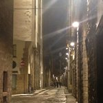 Very quiet, looking down Borgo SS Apostoli toward the hotel