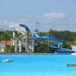 Slide at the big salt water pool
