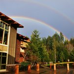 Double rainbow over the lodge entrance