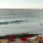 Notice the surfers one day when the surf was up having a ball learning how to