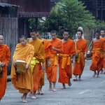 Monks in morning alms walk