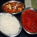 Paneer Butter Masala, Tomato Masala, and Kerala Rice
