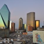View from the Crowne Plaza Dallas Downtown balcony at dusk