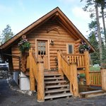 Front of the log cabin