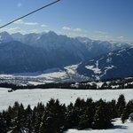 Foto af Lienz oppe fra et af skiområderne