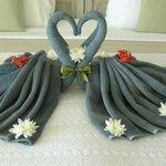 prachtig hart, gemaakt door het personeel vanwege onze honeymoon