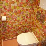 Funky wallpaper in toilet